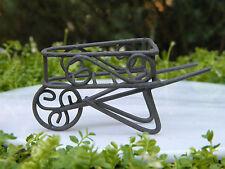 Miniature Dollhouse FAIRY GARDEN Furniture ~ Rustic Iron Wheelbarrow ~ NEW