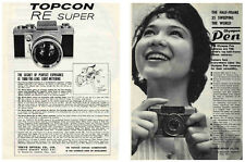 Topcon RE Super & Olympus PEN Camera Ads, 1963: Original Vintage Ads from Japan