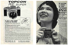 Topcon RE Super an Olympus PEN: Original 1963 Camera Advertisements from Japan