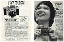 Topcon RE Super & Olympus PEN Camera Ads, 1963: Original Vintage Ads from Japan