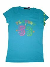 SEXY NWT LADIES GIRLS PLAYBOY TURQUOISE COLOURFUL RAINBOW LOGO T-SHIRT Sz 14