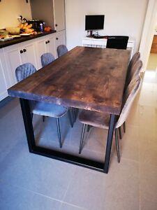 Industrial Grey Dining Table Black Metal Legs & 4 grey velvet diamondBack Chairs