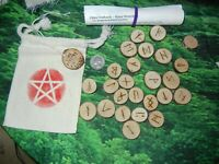 Wicca Pagan Pin Cherry Wood Burned Elder Futhark Runes Bag & Instructions