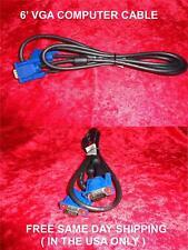 VGA COMPUTER CABLE VGA to VGA 15PIN  6 FOOT COMPUTER MONITOR CABLE BRAND NEW