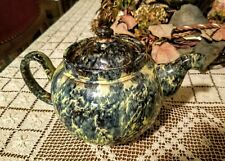 Rare Vintage Blue Yellow Swirl Glaze Teapot by Alcock Lindley & Bloore Patented