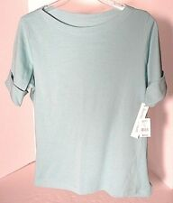 HASTING & SMITH Teal Blue Knit Boat NeckTop   MSRP $16.97 Sz XL NWT