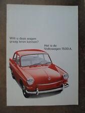 VOLKSWAGEN 1500 orig 1966 Dutch Mkt Sales Brochure - VW Type 3 1500A Variant