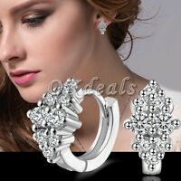 Fashion Women's Crystal 925 Sterling Silver Ear Stud Hoop Earrings Jewelry Gift.
