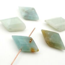 5 side drilled wide diamond shape side drilled light blue amazonite beads 25mm