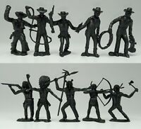 Indians and cowboys Plastic 10 figures vintage Toy  soldiers
