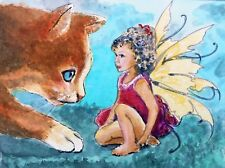 "ACEO-ORIGINAL painting G. Liedtke -Magic Garden-""Fairy Greetings"" Cat magic"