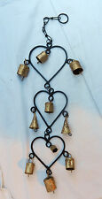 Hanging Iron and Brass Triple Heart / Hearts and Bell Mobile / Windchimes - BNWT