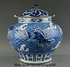 "16"" Antique Old China Blue White Porcelain Dynasty Year Fish Lids Pot Jar Crock"