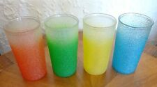 4 Vintage Rainbow Color RUBBER COATED Ice Texture Drinking Glasses Tumblers