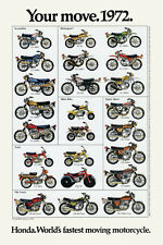 1972 HONDA LINE UP FULL LINE VINTAGE MOTORCYCLE POSTER PRINT 36x24