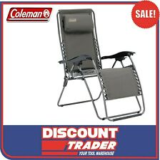 Coleman Flat Fold Layback Lounger Camping Chair Charcoal Grey - 1423243
