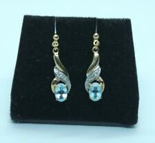 Vintage 9ct yellow gold Blue Topaz and Diamond drop earrings.
