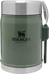 STANLEY CLASSIC LEGENDARY VACUUM FOOD JAR WITH SPORK 14oz HAMMERTONE GREEN FLASK