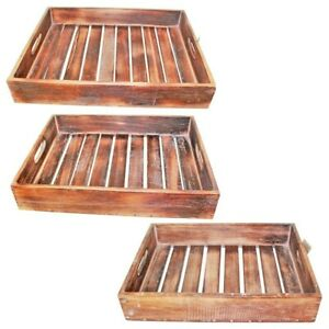 Natural Brown - Set of 3 Wooden Carry Trays with Slats, Hand Made, Beach House