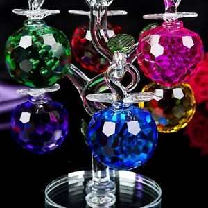 Decorative Crystal Glass Apple Tree 6 Crystal Clear Multi Coloured Apples Gift