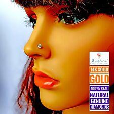 3.6mm 1/5 ct Natural i Diamond Nose Lip Screw Pin Piercing Stud Ring 14k Gold