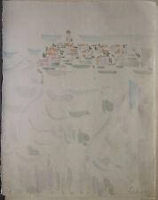 "Dessin Original Aquarelle André FILDIER (1928-2001)  ""Campagne village"" - F18"