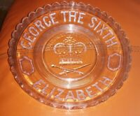 RARE PRESSED GLASS GEORGE THE SIXTH 1937 CORONATION GLASS PLATE/BOWL ELIZABETH