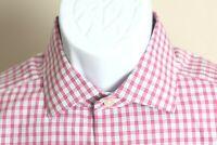 Charles Tyrwhitt Men's pink, blue & white Non Iron Slim Fit dress shirt 16 35