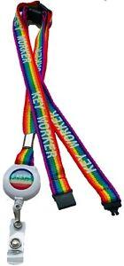 15mm Rainbow Key Worker Badge Reel Lanyard With 3 Point Safety Breakaway