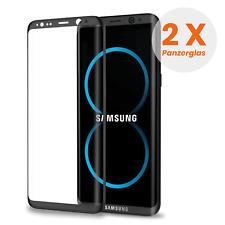 2x Curved Displayschutzglas für Samsung Galaxy S8 - Panzerfolie *Schwarz*