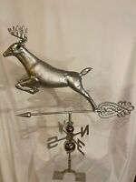 HUGE Handcrafted 3 Dimensional Jumping Deer Weathervane STAINLESS STEEL Finish