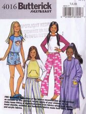 Butterick 4016 Girls Night Dress Top Pants Pyjamas Sewing Pattern Size 7 8 10