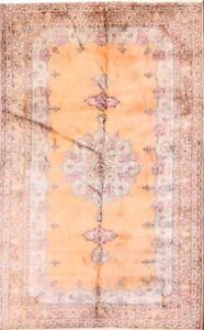100% Silk Peach Color Vintage Handmade 6'x10' Yahyali Turkish Oriental Area Rug