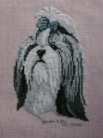 Shihtzu Dog Puppy Cross Stitch Completed Finished
