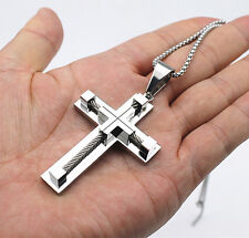 New Gift Unisex's Men Silver Stainless Steel Cross Pendant Necklace Chain