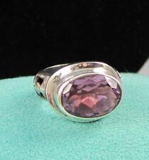 Vintage Stunning Bold LORI BONN Sterling Silver Oval Purple Amethyst Ring