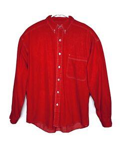 Vintage Structure Mens Red Wash Front Pocket Denim Jean Shirt Size Medium