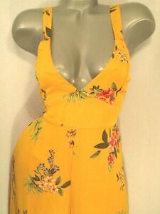 Gold Floral Print Jumpsuit~Capri Romper~Open Tie Back~Vneck~Party~Women L 11