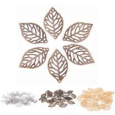 50pcs Gold Charm Filigree Hollow Leaves Pendant DIY Jewelry Making Hot
