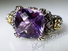 Barbara Bixby Classic Amethyst Sterling Silver 18k Gold Ring Size 7