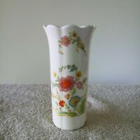 HAMMERSLEY Bone China Vase with Floral Red Pink Blue Scallop Top Opening