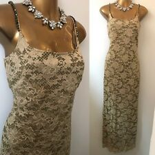 Joseph Ribkoff Dress Size 12 Gold Gown Embellished Cruise Evening Occasion.