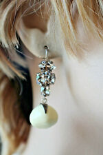 ISABEL MARANT SILVERTONE, RHINESTONE, OFF WHITE BEAD DANGLE EARRINGS 3/4 X 2""