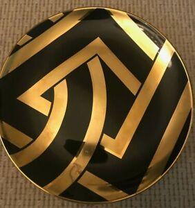 RALPH LAUREN HOME Maddox Art Deco Black Gold Dessert Bread Plate Rare Porcelain