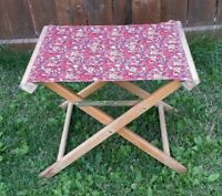 Vintage Folding Chair Red Floral Cotton Wood Mid Century Retro 1970s