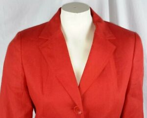 Talbots Petites Womens size 8 orange/coral irish linen blazer jacket