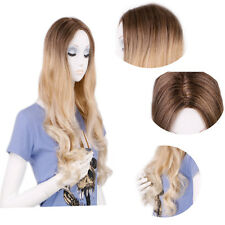 Women Brown to Blonde Ombre Dip Dye Curly Wavy Synthetic Full Hair Wigs Creamily