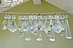 CLEAR & AURORA BOREALIS AB CHANDELIER DROPLETS CRYSTALS GLASS LAMP PARTS BEADS