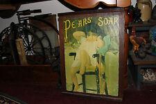 Antique Pears Soap Wood Box Crate Lid-Art Deco Girl-Wood Advertisement Sign-LQQK
