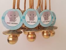 Elephant Pacifier Necklaces Baby Shower Game Favors 12 BLUE GOLD Its a Boy Decor